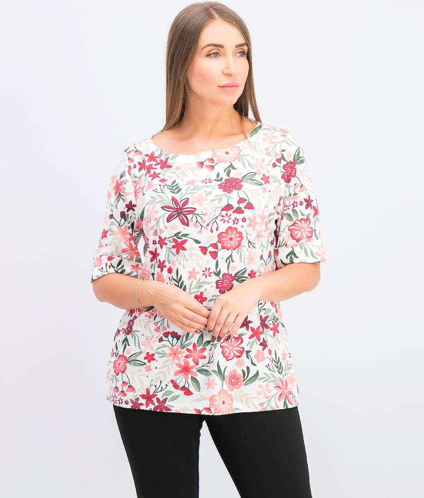 Women's Printed Boat-Neck Top, Peony Coral
