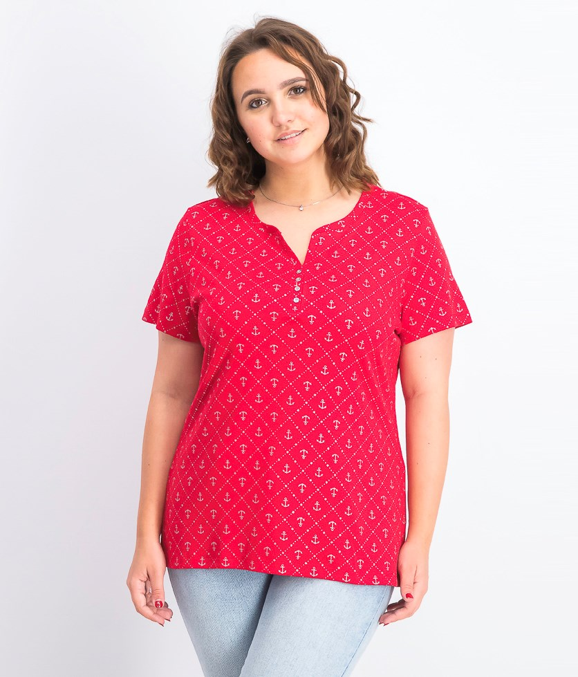 Women's Anchor Geo Henley Top, New Red Amore