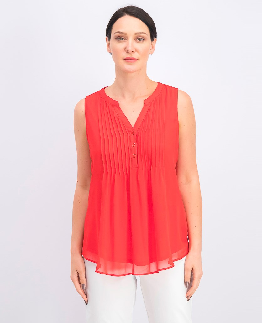 Women's Sleeveless Pin-tuck Blouse, Risky Red