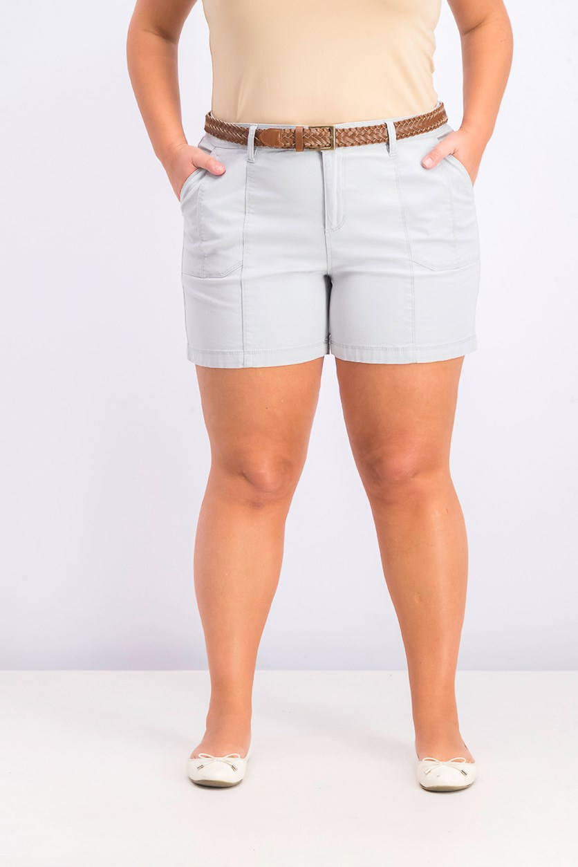 Women's Plus Size Belted Utility-Pocket Shorts, Misty Harbor