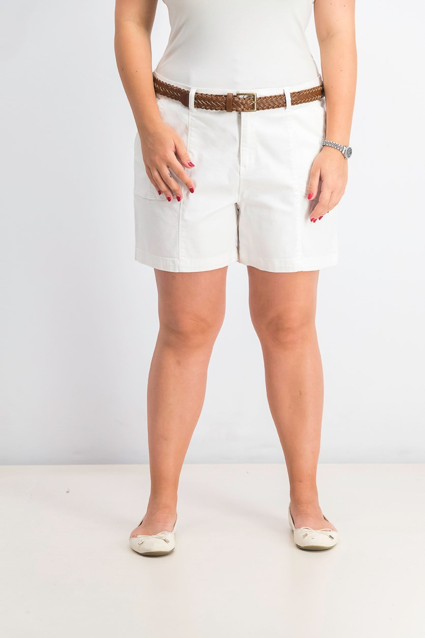 Women's Belted Utility-Pocket Shorts, Bright White