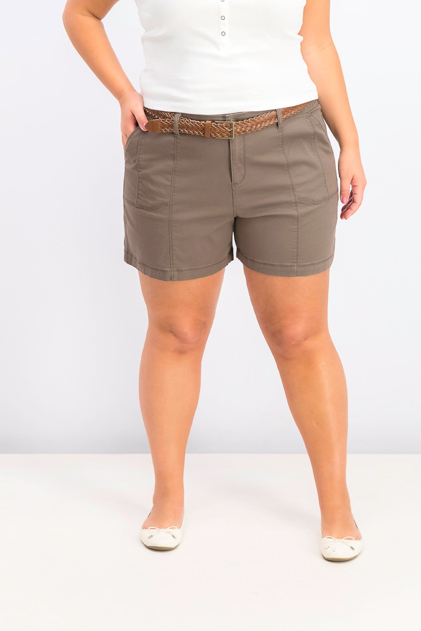 Women's Belted Utility-Pocket Shorts, Brown Clay