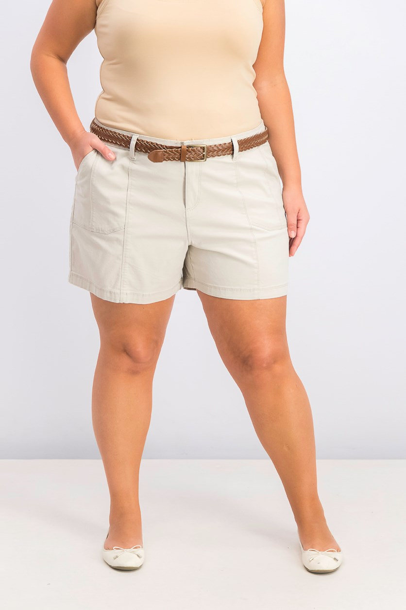 Women's Four Pocket Style Belted Shorts, Stone Wall