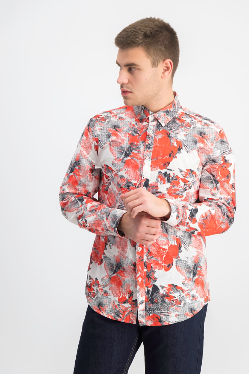 Men's Abstract Floral-Print Shirt, White Combo