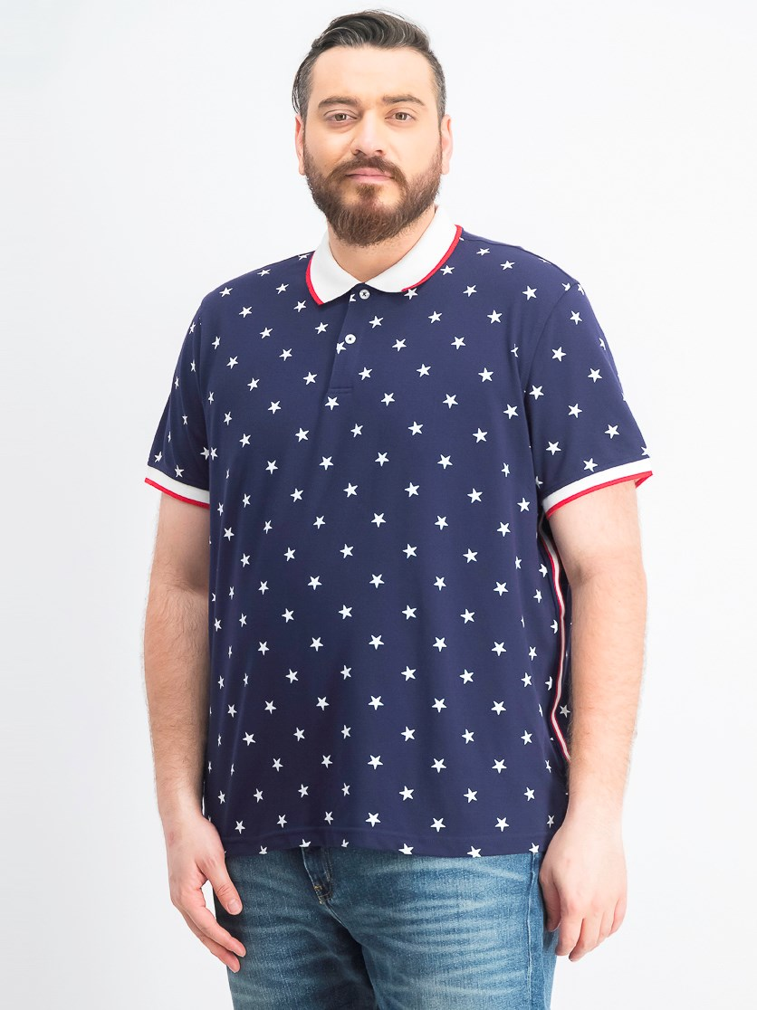 Men's Americana Star Print Stretch Polo, Navy Blue