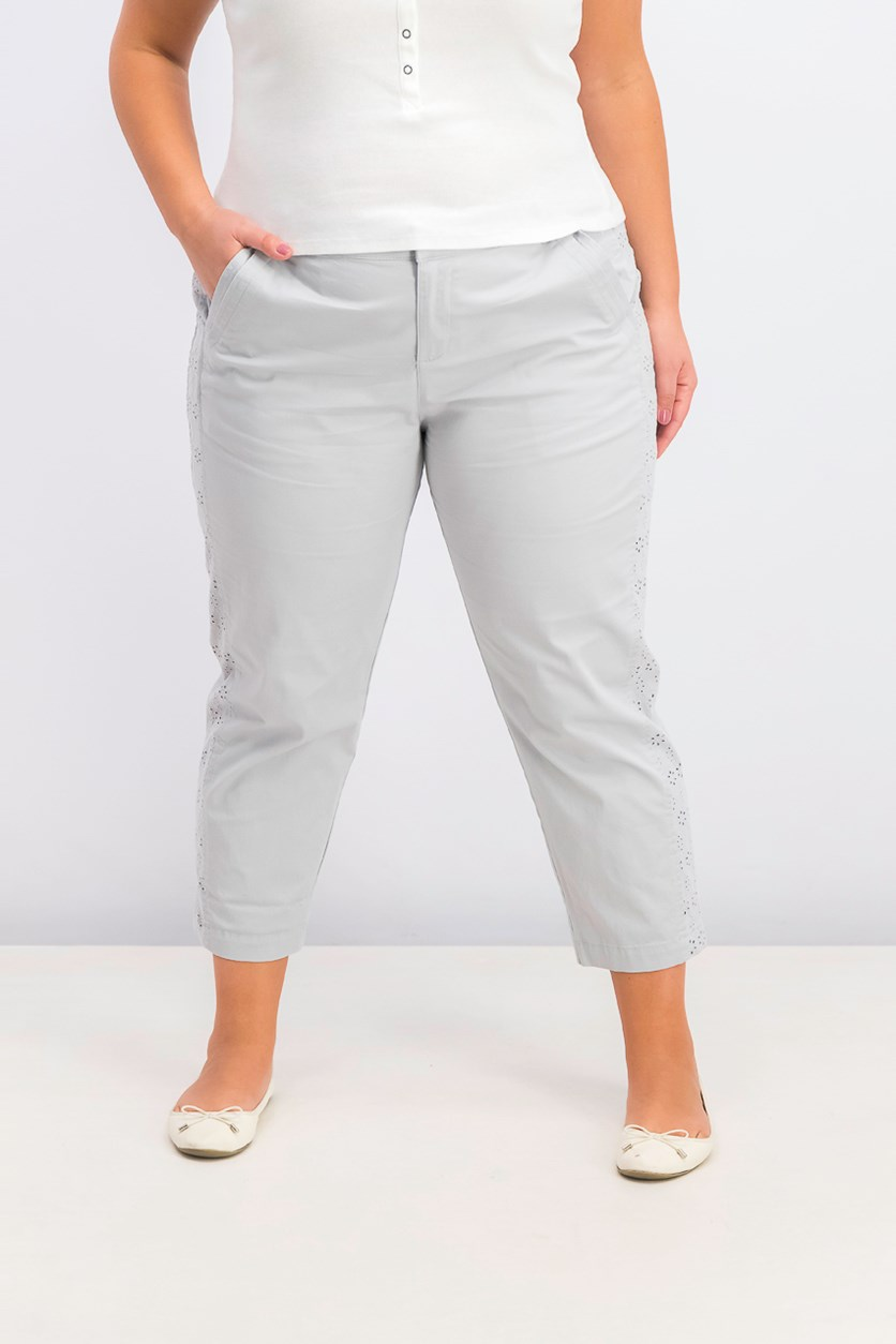 Women's Eyelet-Trim Capri Pants, Misty Harbor