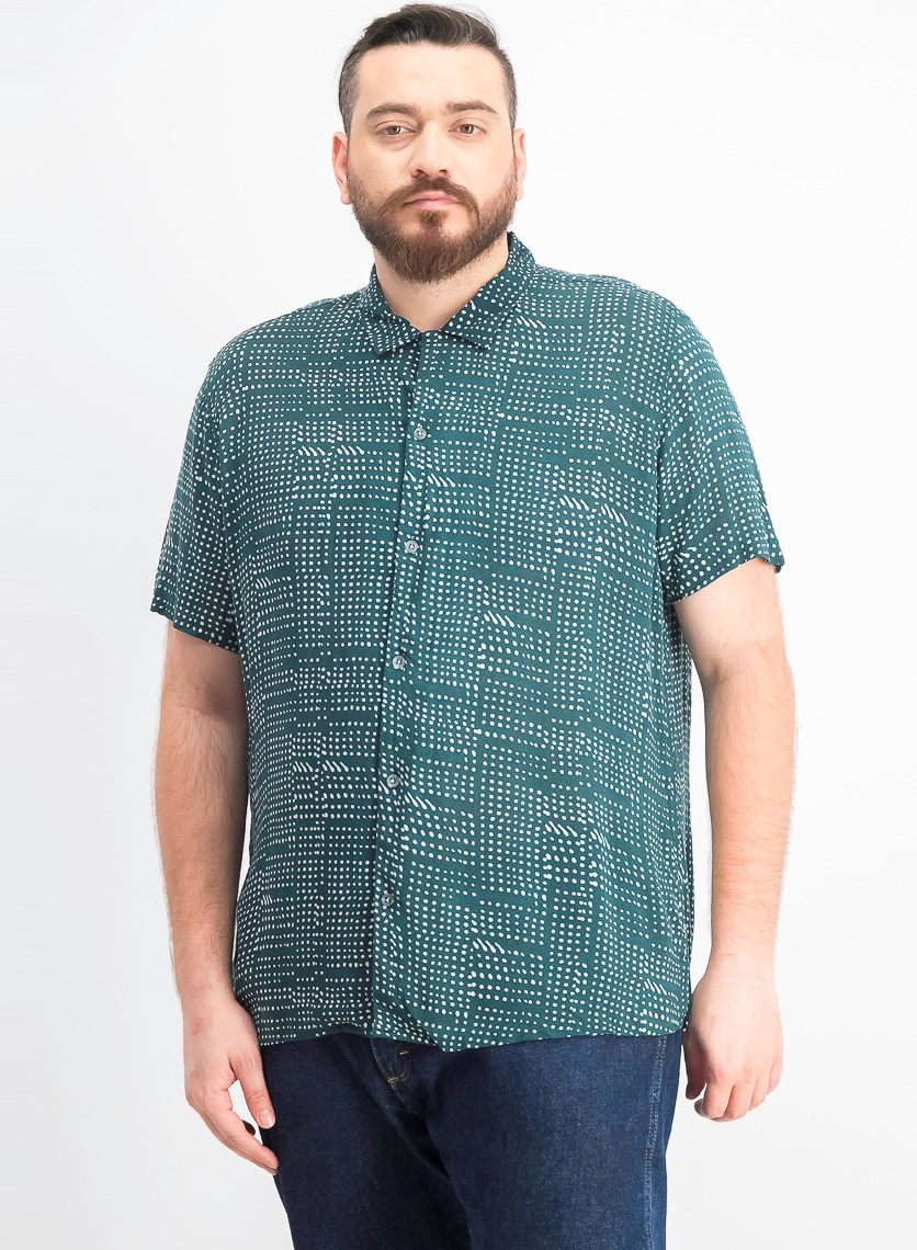 Men's Abstract Dot-Print Camp Shirt, Rain Forest