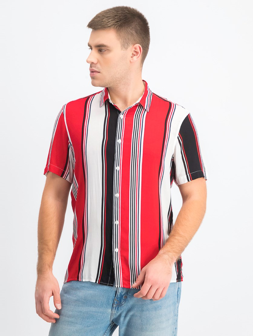Men's Marco Striped Button-Down Shirt, Red Combo