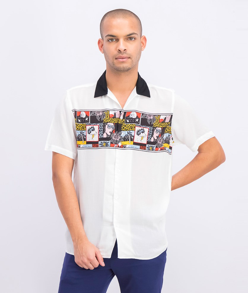 Men's Blitz Comic Camp Shirt, White Combo