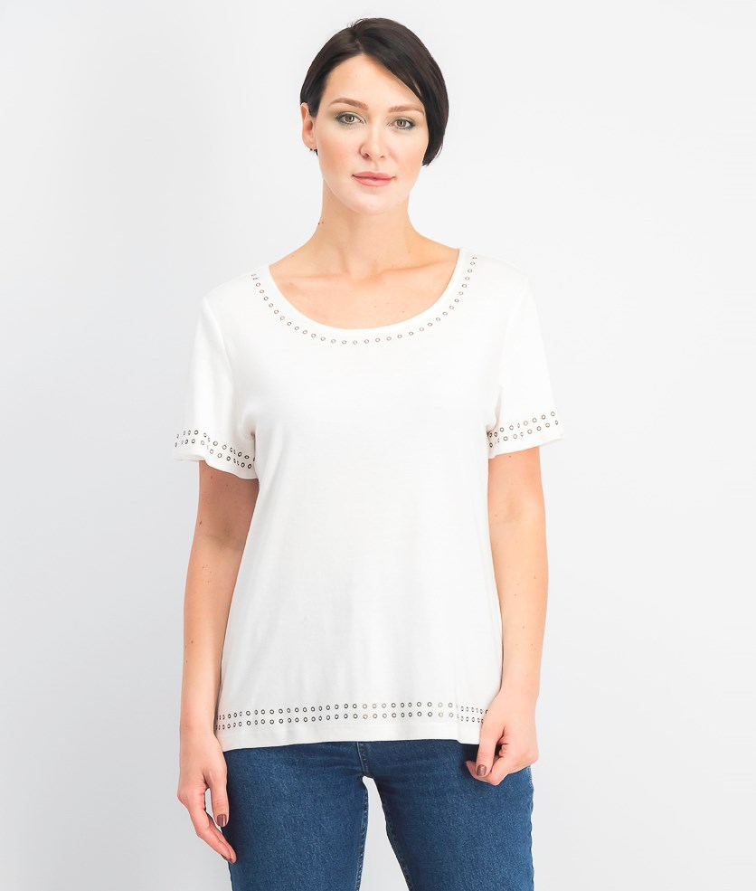Women's Grommet-Trim Flutter-Sleeve Top, Bright White