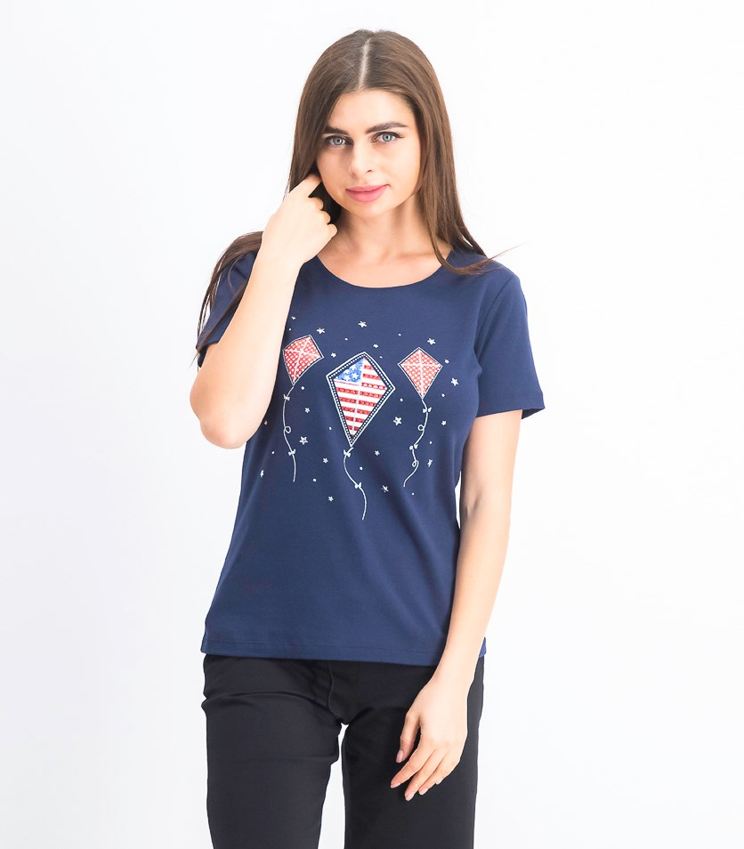 Women's Petite Rhinestone-Embellished Graphic Top, Intrepid Blue