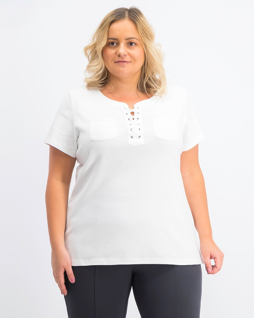 Women's Plus Size Lace-Up Cotton Top, Bright White