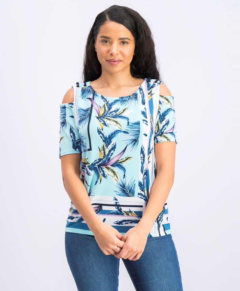 Women's Petite Printed Cold-Shoulder Top, Havana Tropics
