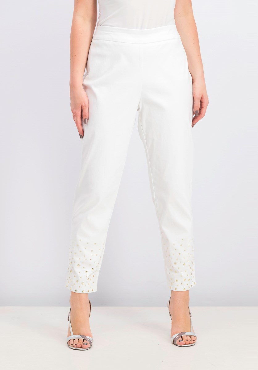 Women's Embellished Pull-on Pants, White