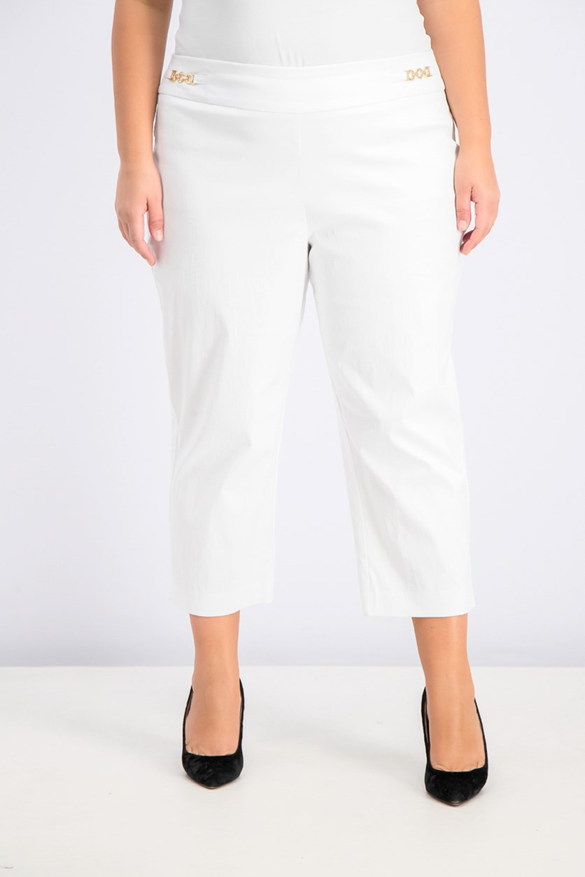 Women's Cropped Chain-Link Pants, Bright White