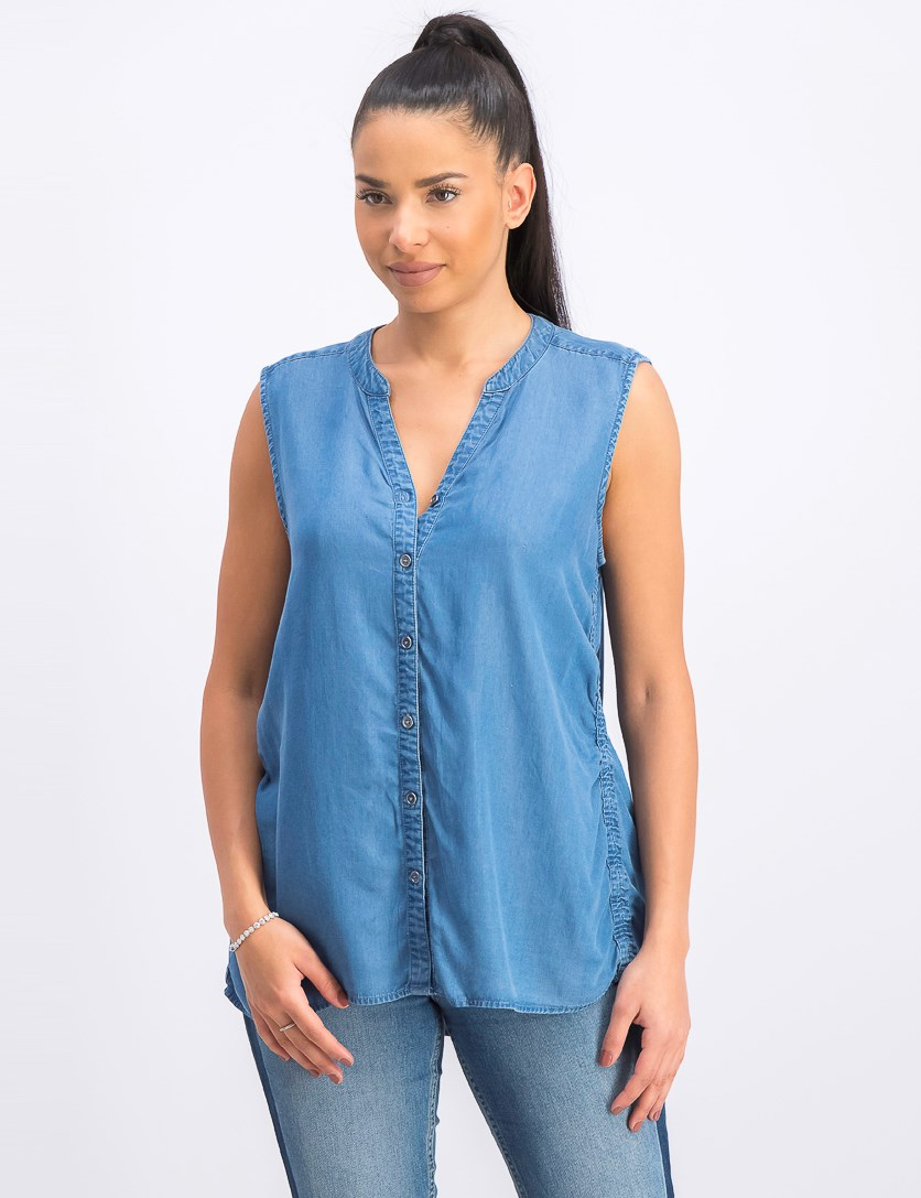 Women's Side-Seam Sleeveless Shirt, Blue