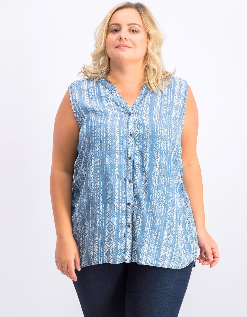 Women's Side-Seam Sleeveless Shirt, Tapestry Stripe