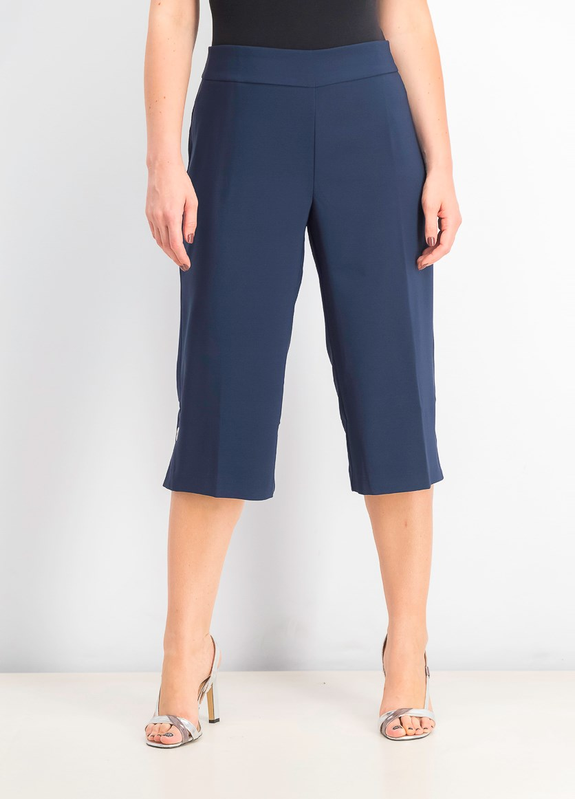 Women's Petite Wide Leg Capri Pants, Intrepid Blue