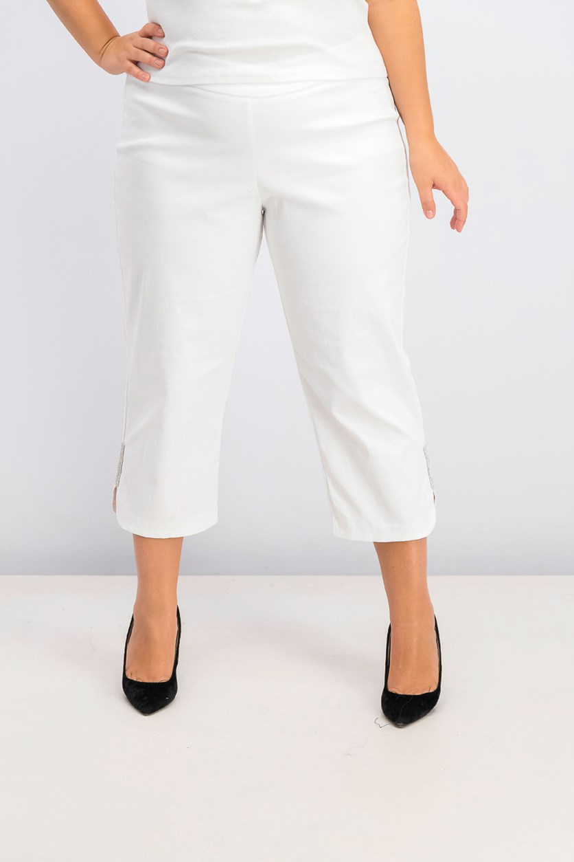 Women's Plus Size Rhinestone-Embellished Capri Pants, Bright White