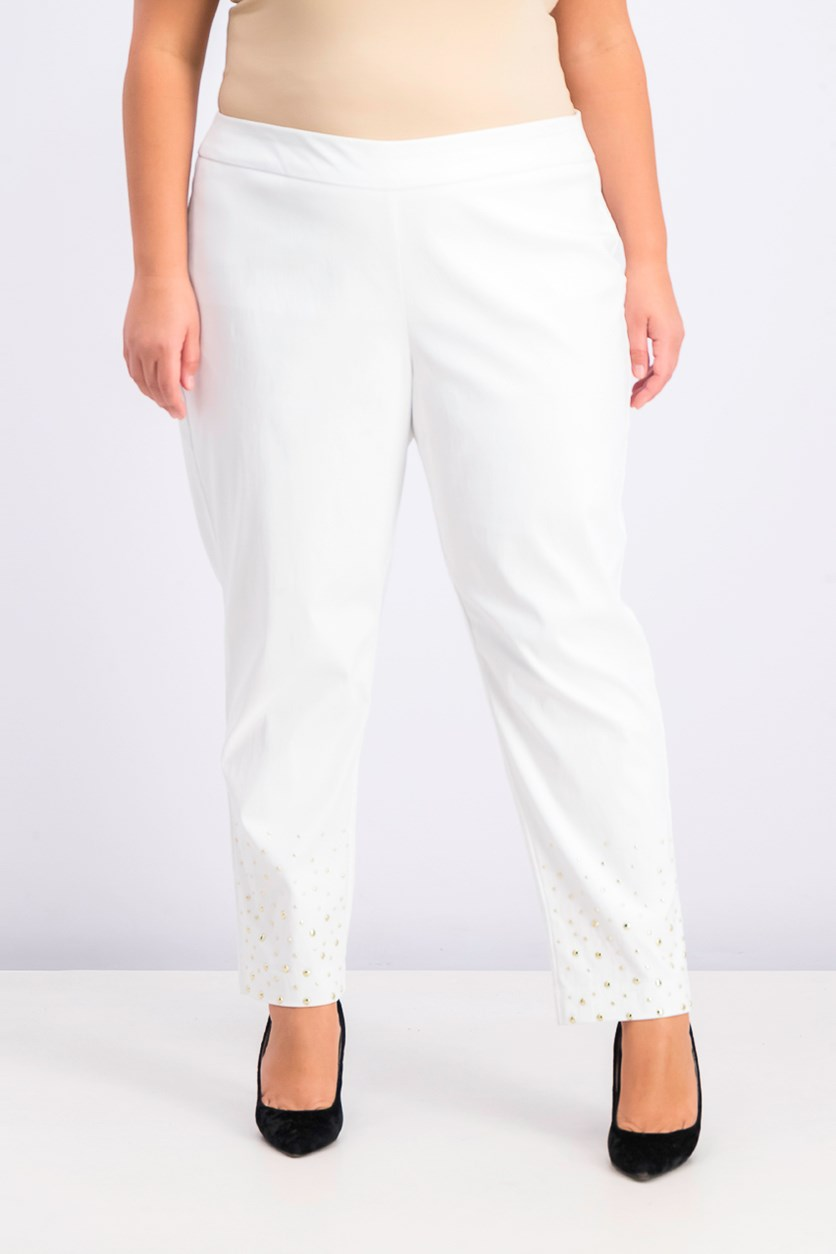 Women's Plus Size Studded Ankle Pants, Bright White
