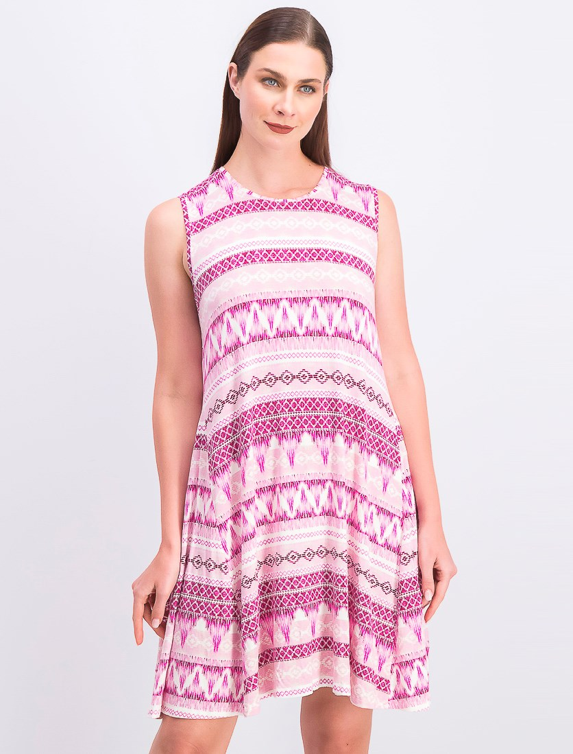 Women's Printed Swing Dress, Waves Rose/Purple Combo