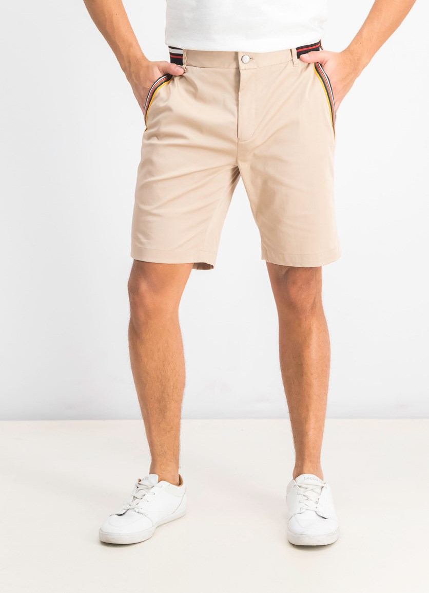 Men's Stretch Stripe Detail Sateen Shorts, Almond Tree