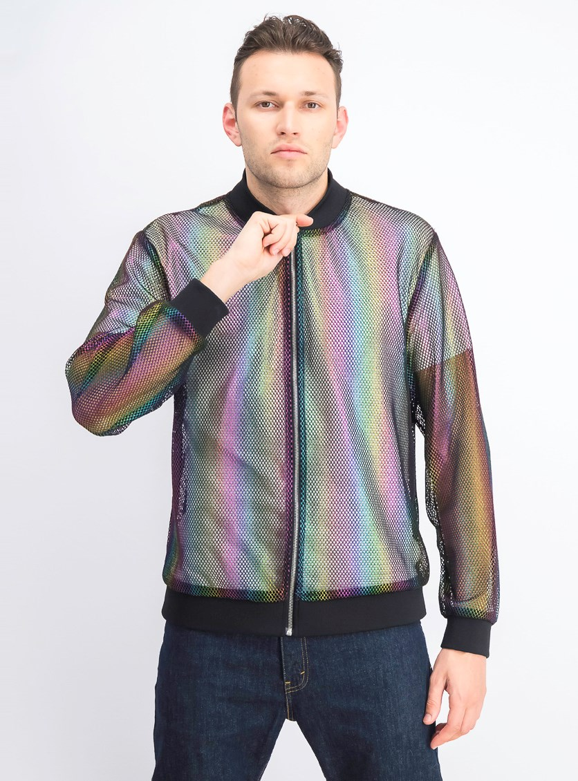 Men's Pride Rainbow Mesh Bomber Jacket, Rainbow