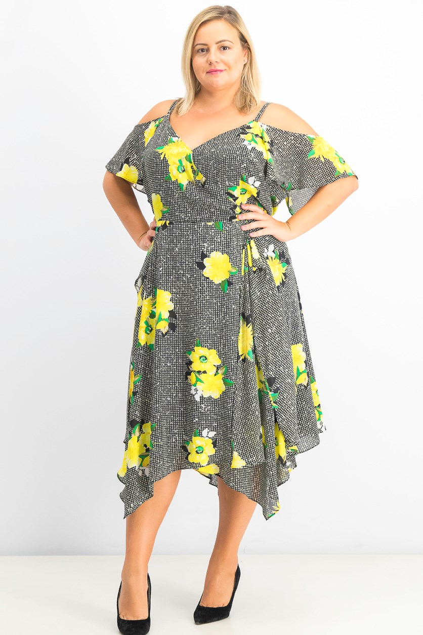 Women's Plus Size Cold-Shoulder Midi Dress, Gingham Bouquet