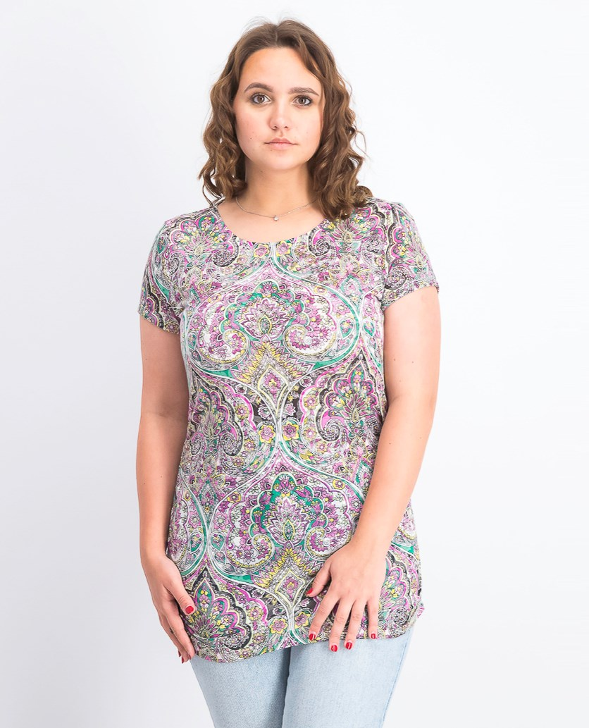 Printed Ruched Top, Opulent Paisley