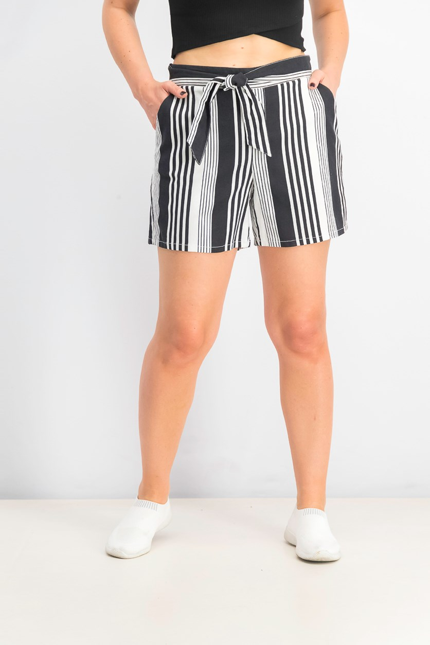 Women's Striped Paper Bag Tie-Front Short, Black/White