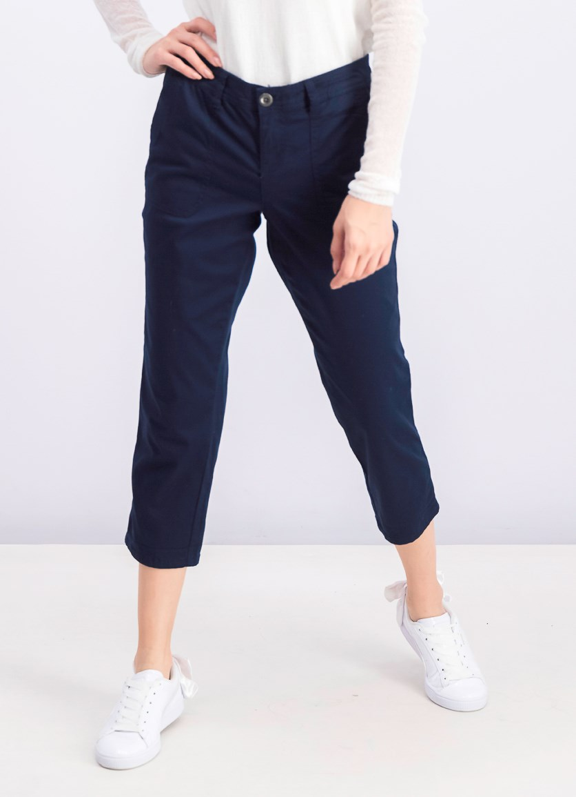 Women's Petite Utility Pocket Capri Pants, Industrail Blue