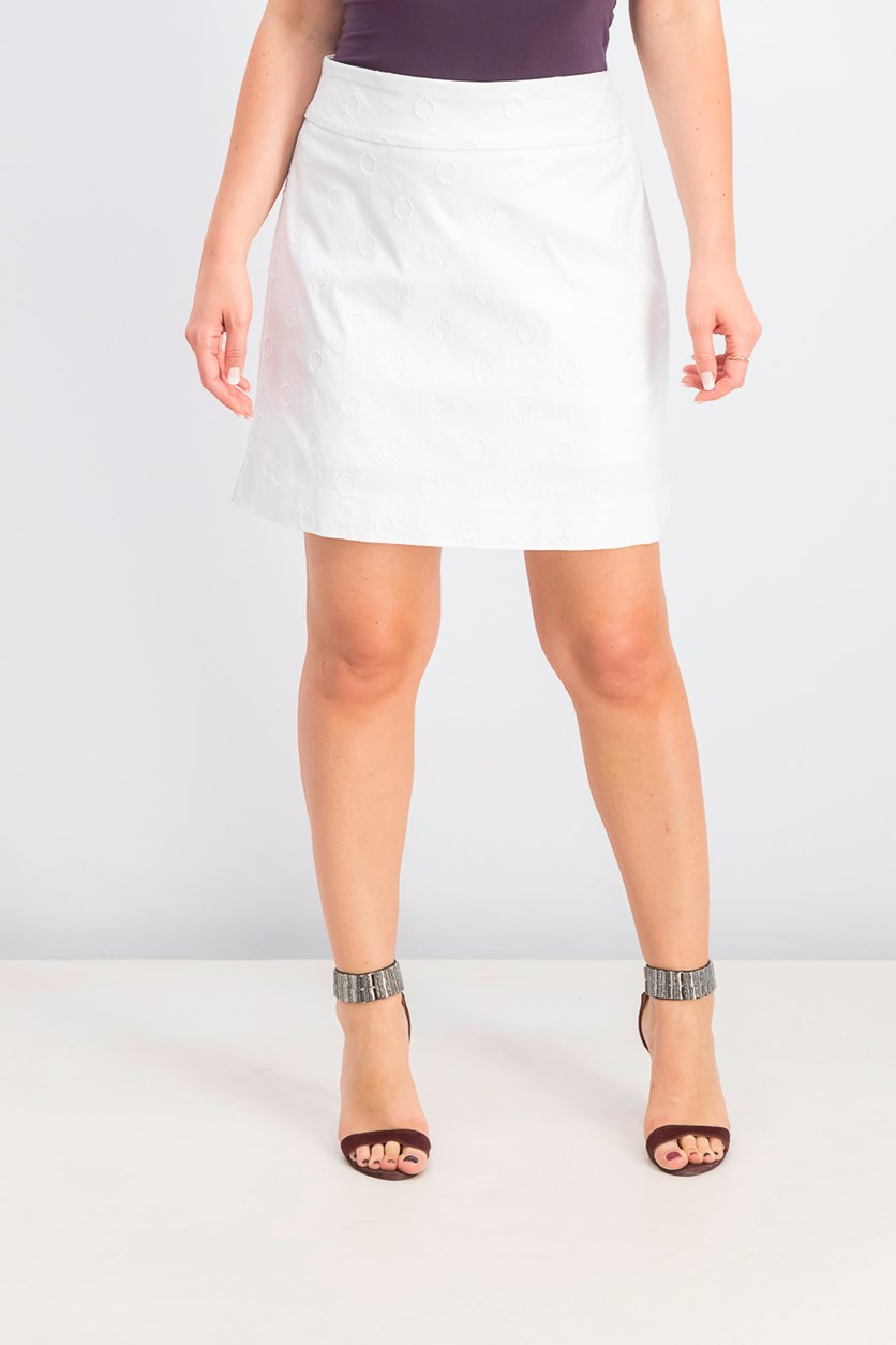 Women's Textured Pull-On Pencil Skort, White