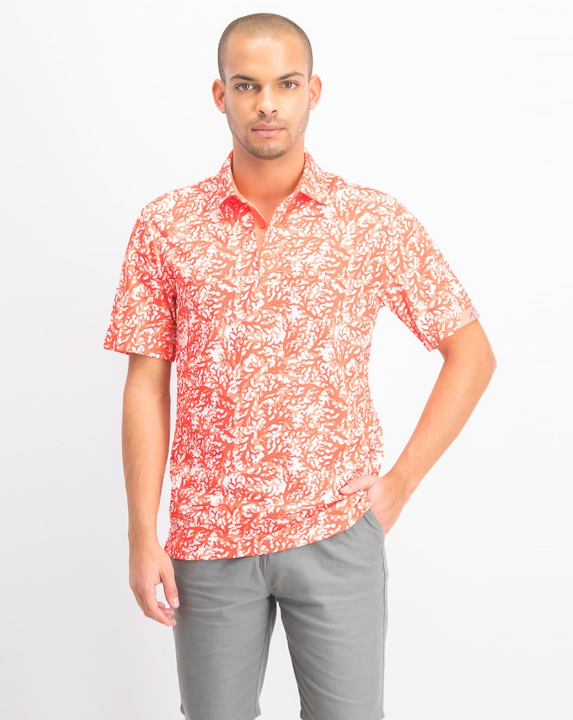 Men's All Over Print Coral Polo Shirt, Seaside Coral