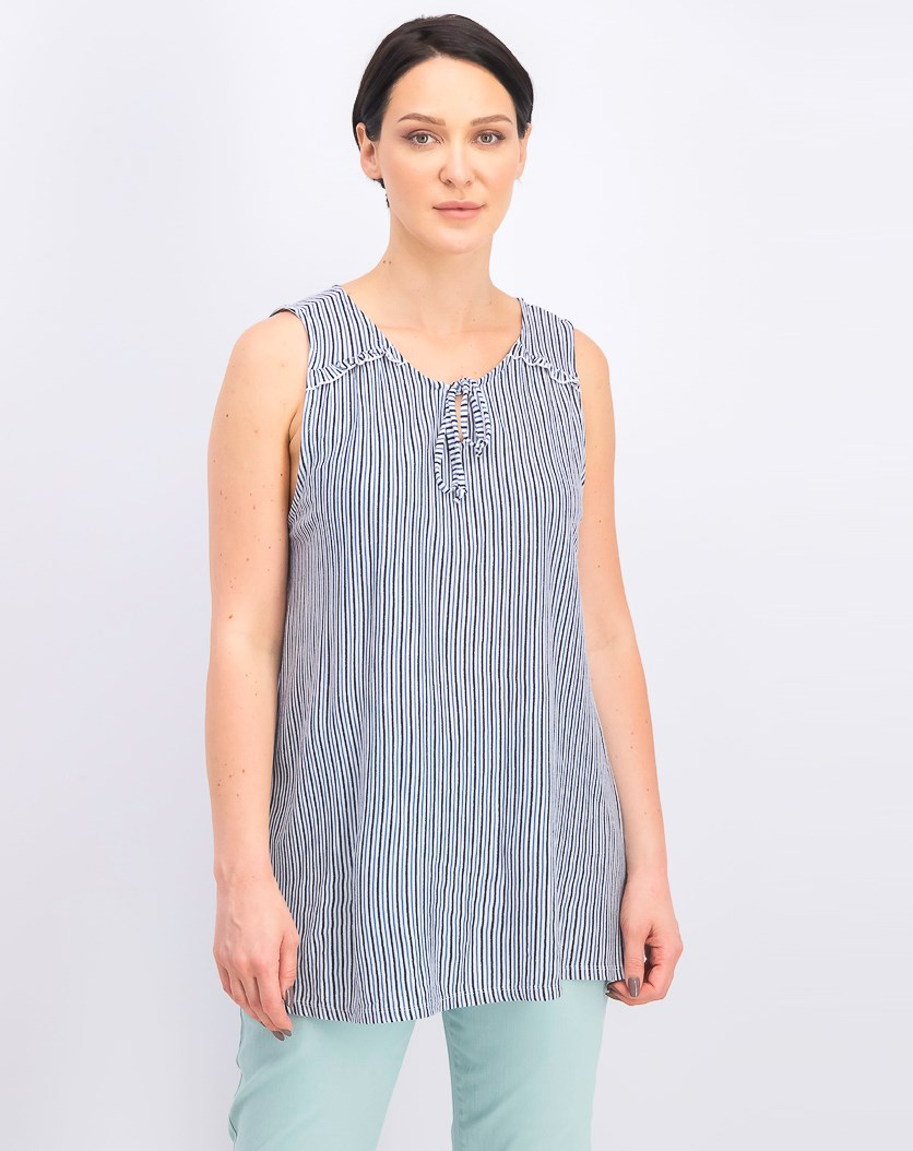Women's Striped Sleeveless Top, Tidal Stripe