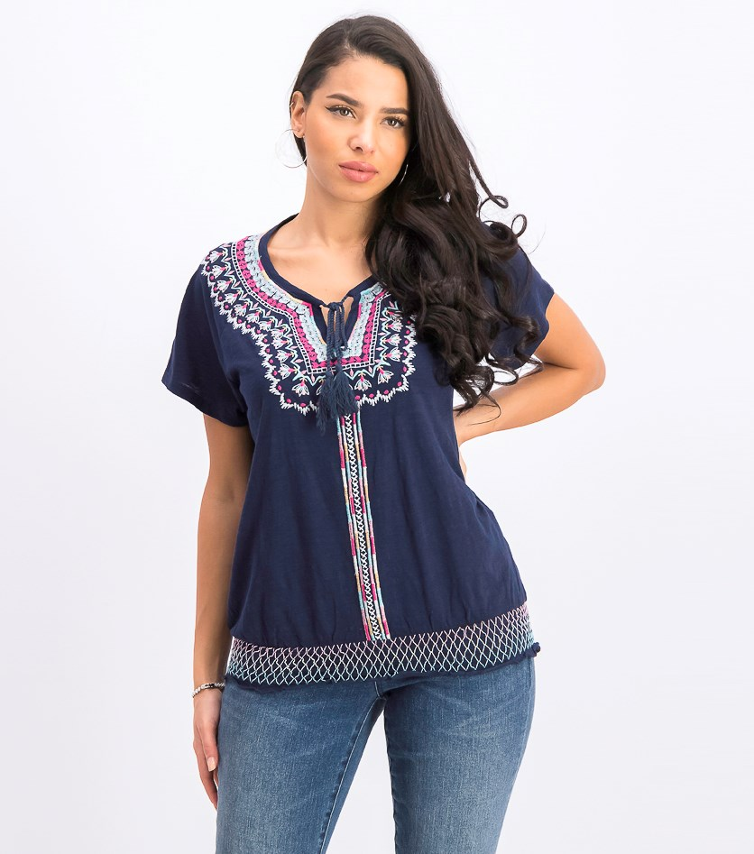 Women's  Embroidered Peasant Blouse, Paradise Vibran