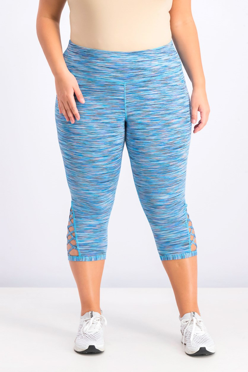 Women's Plus Size Space-Dyed Cropped Leggings, Blue Combo