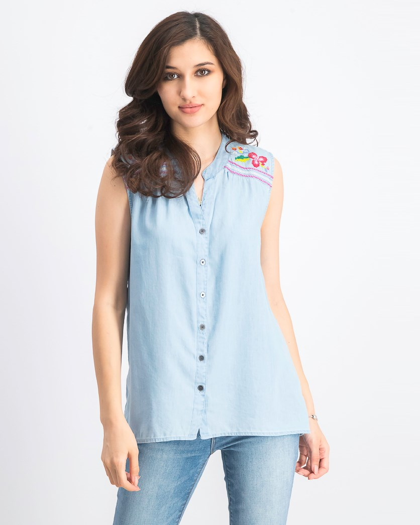 Women's Embroidered Button-up Top, Electric Garden
