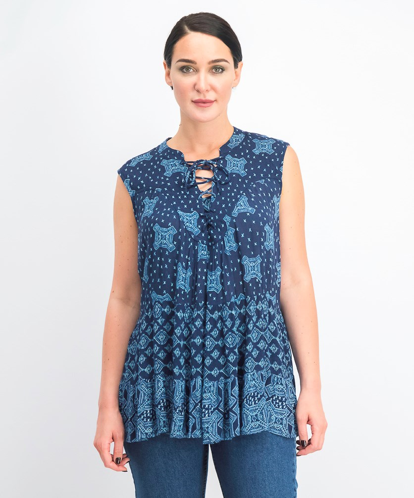 Women's Printed Tiered Lace-Up Top, Georgia Gem