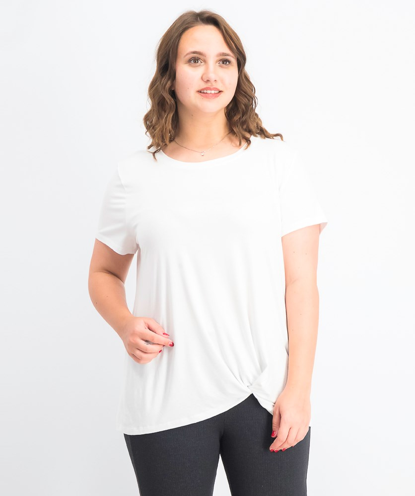 Women's  Knot-Hem T-Shirt, Bright White