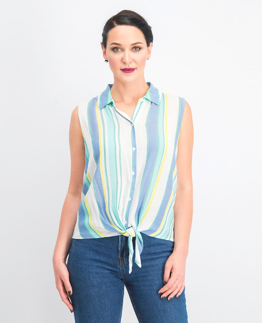 Women's Sleeveless Tie-Front Shirt, Bright White Combo