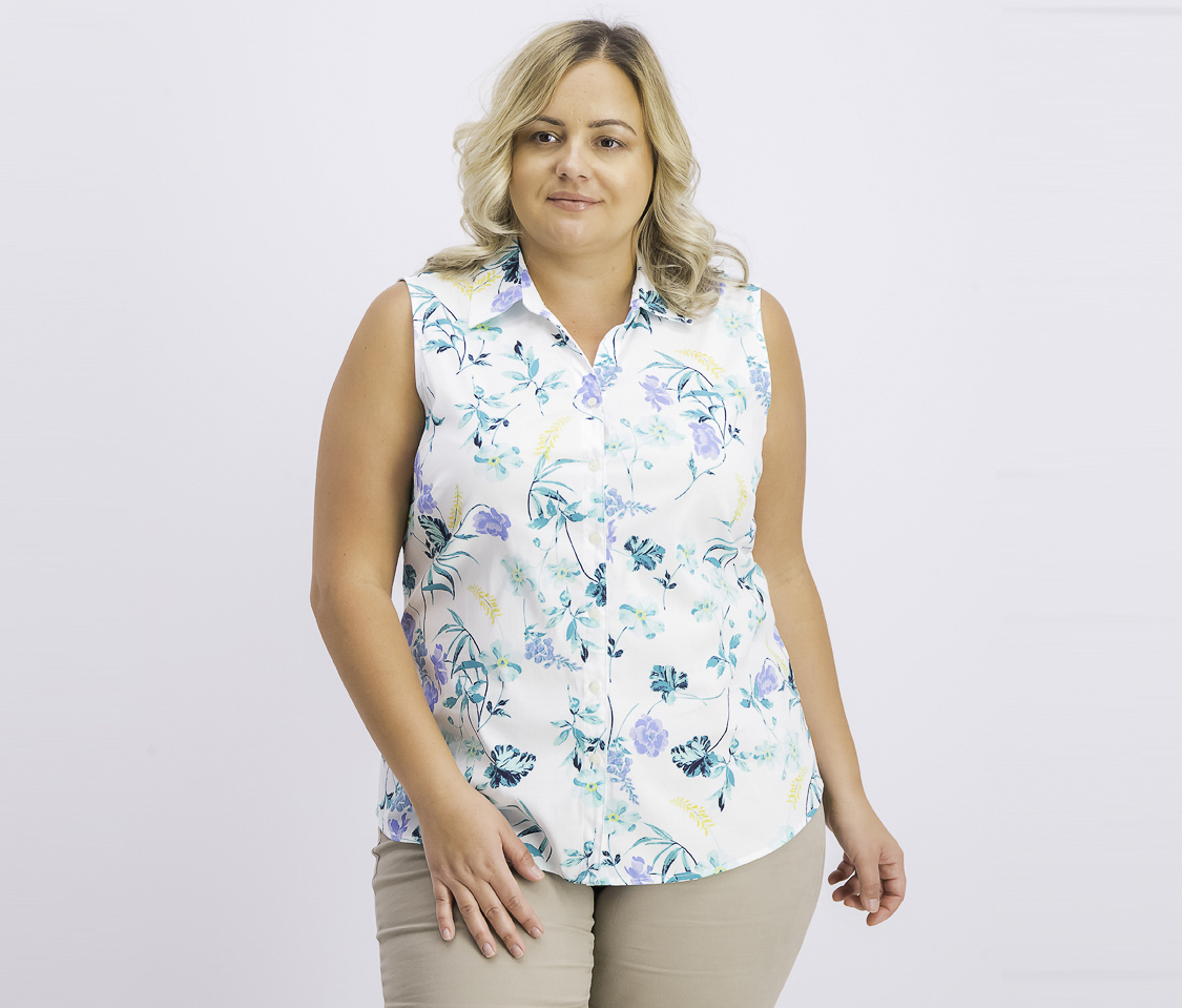 Women's Floral-Print Sleeveless Top, Bright White Combo