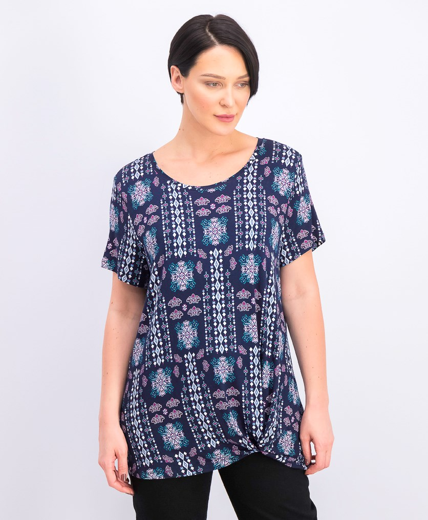 Women's Printed Knot-Front Top, Mixup Industrial/Navy Blue