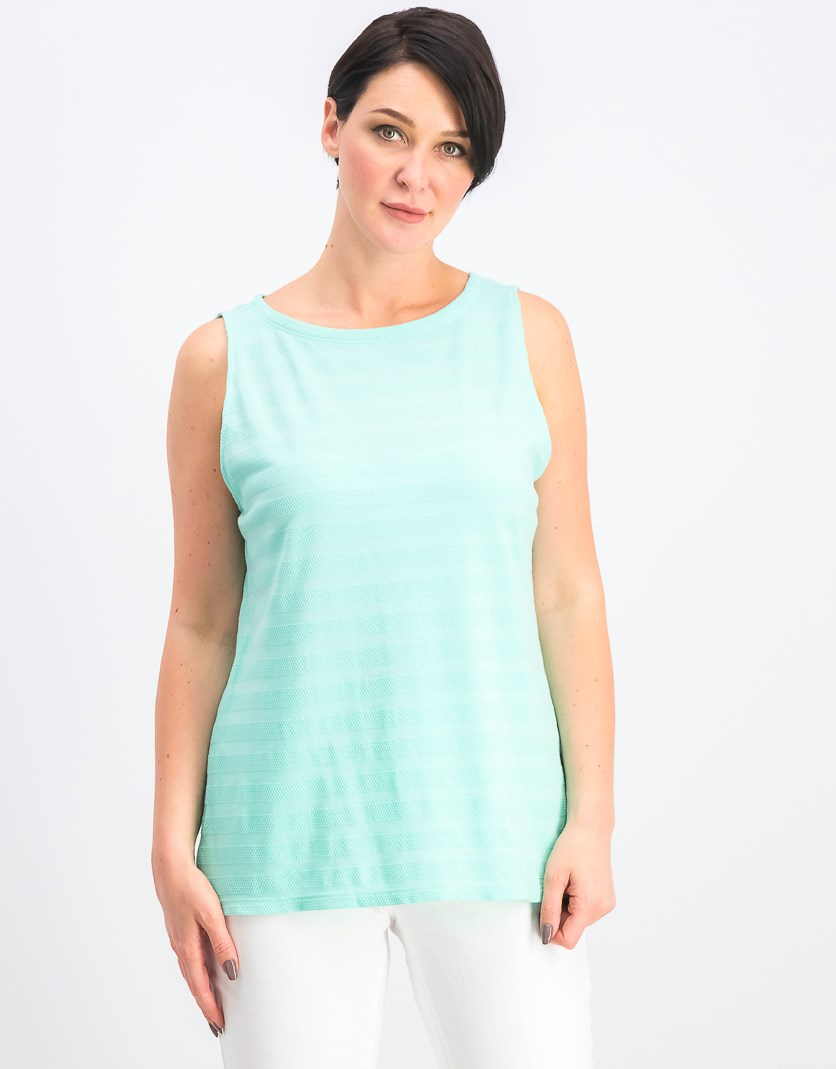 Women's Textured Cotton Tank Top, Aqua Gloss