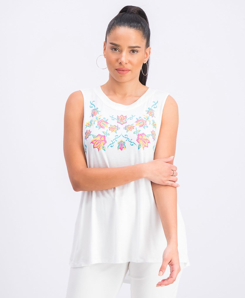 Women's Embroidered Keyhole Top, White Combo