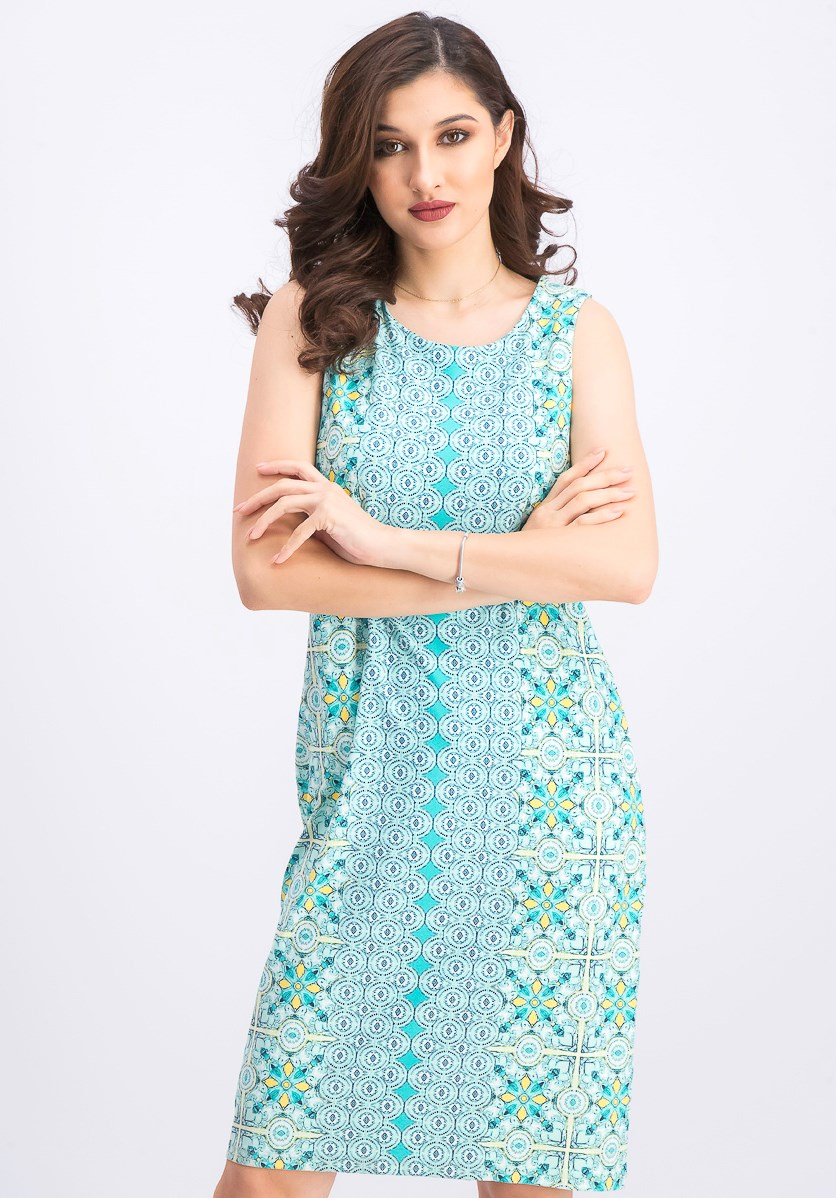 Women's Tile-Print Shift Dress, Aqua Gloss Combo