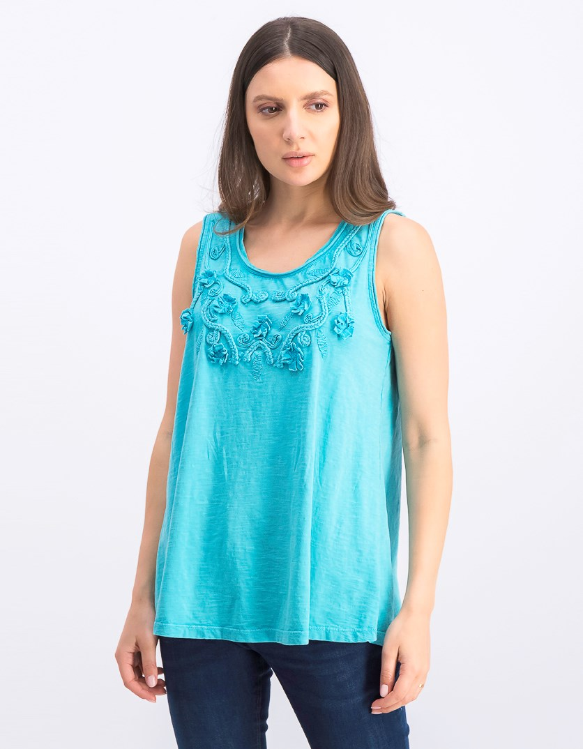 Women's Cotton Soutache-Trim Tank Top, Freshwater Sout