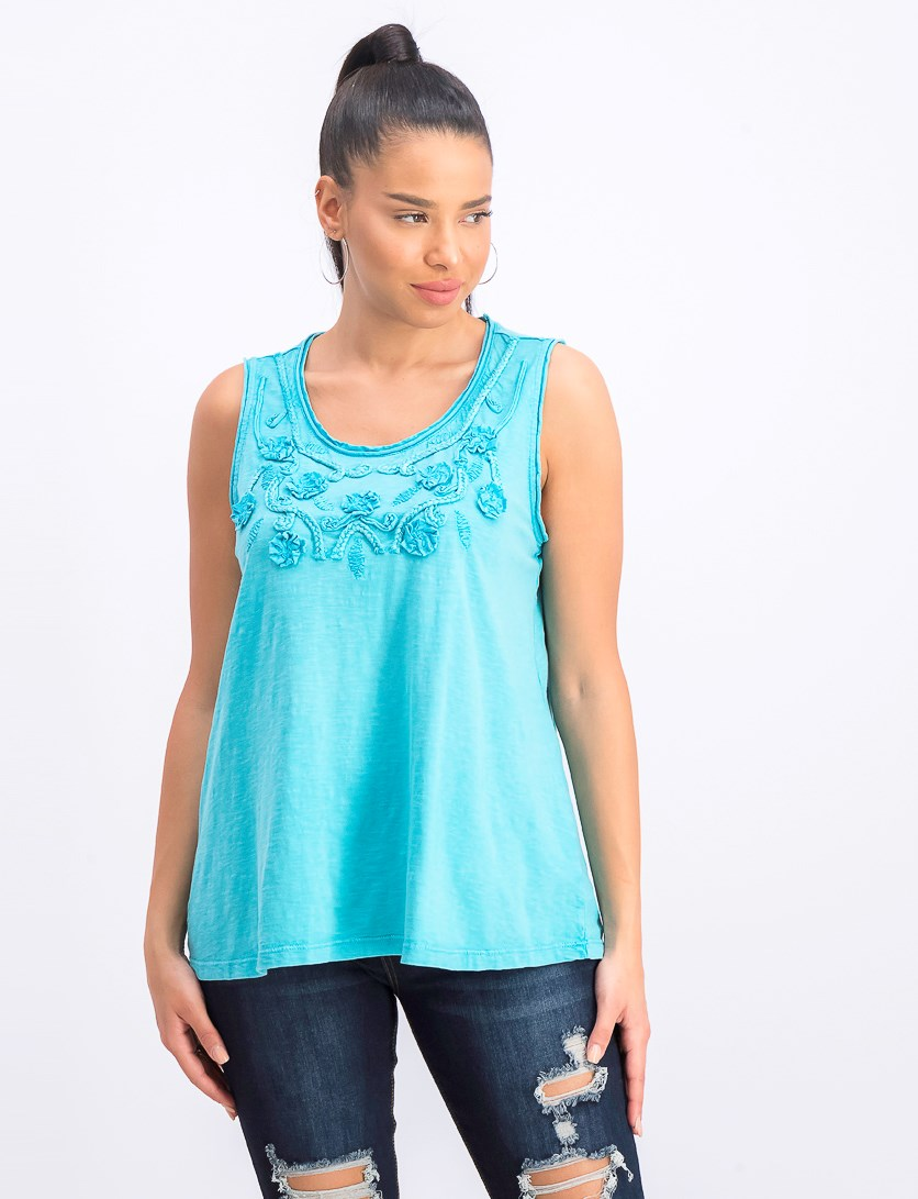 Women's Cotton Soutache-Trim Tank Top, Fresh Water