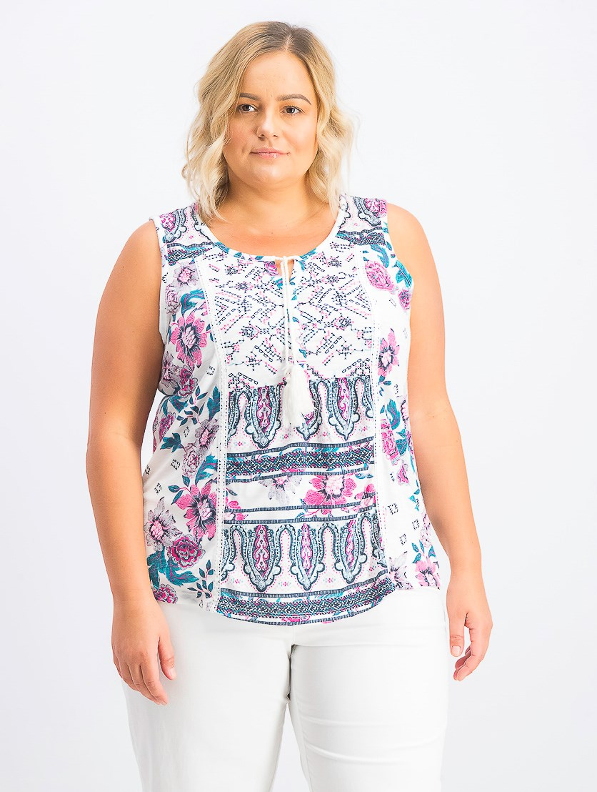 Women's  Plus Size Printed Tasseled Top, Summer White