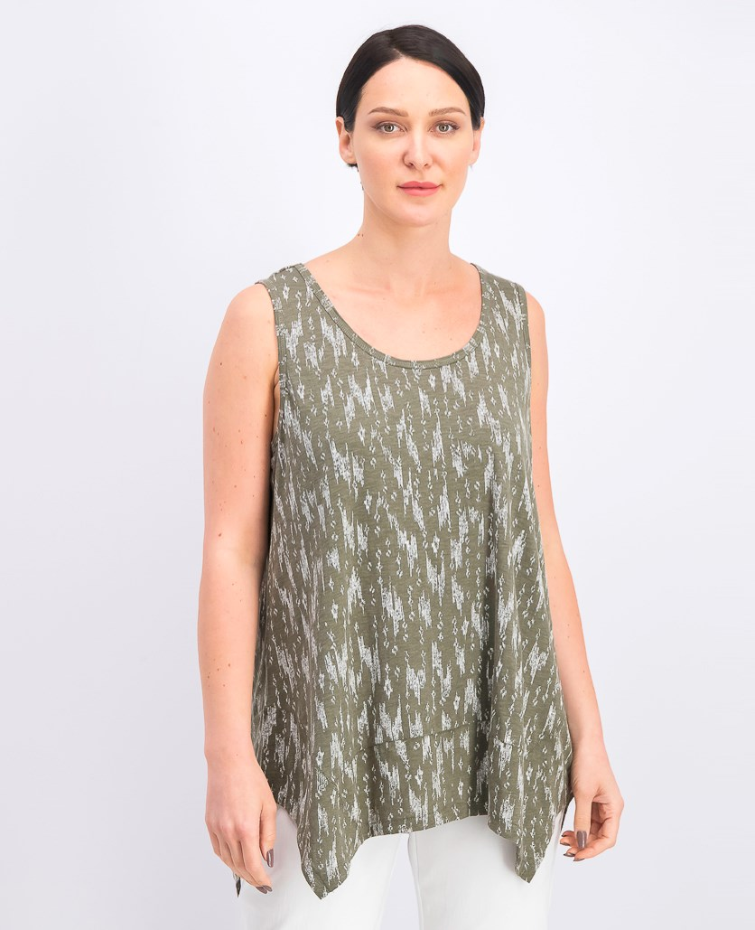 Women's Printed Scoop-Neck Swing Top, Ikat Rains Olive