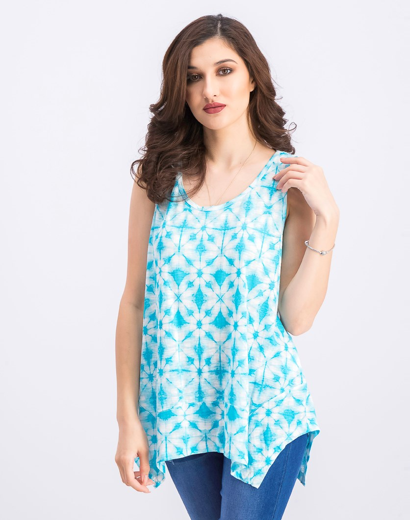 Women's Printed Scoop-Neck Swing Top, Rainforest Dye